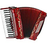 Fever F3460-RD Piano Accordion with 5 Switches, 34 Keys and 60 Bass, Red