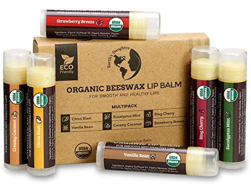 USDA Organic Lip Balm 6-Pack by Earth's Daughter - Fruit Flavors, Beeswax, Coconut Oil, Vitamin E - Best Lip Repair Chap Stick for Dry Cracked Lips.