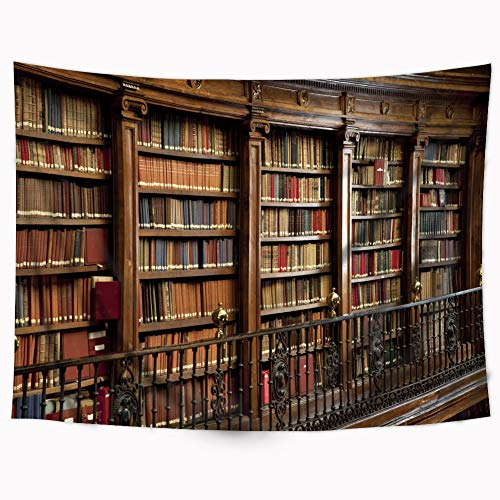 - Riyidecor Vintage Wooden Library Tapestry 80x60 Inch Oblique Bookshelf Tapestry Full of Old Books Tapestry Gothic Classical Antique Historic Hippie Art Wall Hanging Indigenous Bedroom Living Room