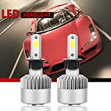 Image of H3 LED Headlight Conversion Kit, S2 Auto Car Led Headlamp Car COB Bulbs, 6000K 9W-36W Cool White 7600LM, All-in-One Error Free Design (H3)