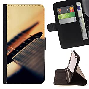 BullDog Case - FOR/Samsung Galaxy Note 3 III / - / guitar strings music instrument musical /- Monedero de cuero de la PU Llevar cubierta de la caja con el ID Credit Card Slots Flip funda de cuer