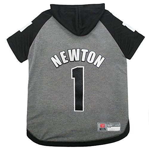(NFLPA CAM Newton Hoodie for Dogs & Cats. NFL Carolina Panthers Dog T-Shirt, Medium | Sports Hoody Tee Shirt for Pets | Licensed Sporty Dog Shirt.)