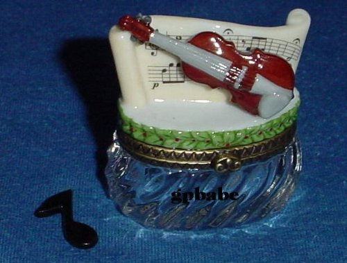 Violin on Crystal Base Trinket Porcelain Hinged Box PHB Midwest of Cannon Falls - Limoges Trinket Box Porcelain