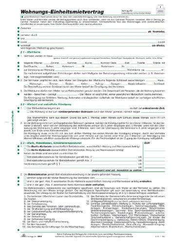 Rnk Mietvertrag Für Wohnungen Standardeinheit59910 Din A4 4