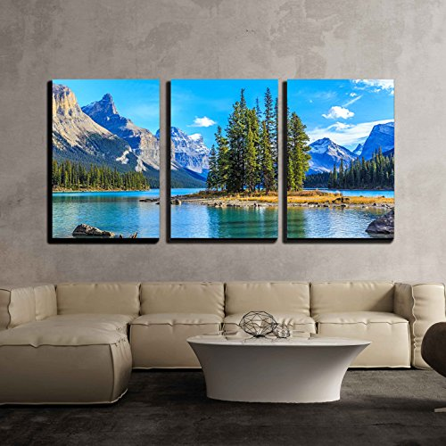 wall26 - 3 Piece Canvas Wall Art - Spirit Island in Maligne Lake - Modern Home Decor Stretched and Framed Ready to Hang - 24
