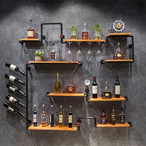 (Wall Mounted Wine Cabinet Wood Wine Bottles and Glasses Holder, Stemware Racks Storage Shelf Wall Decoration Unit Shelves, Retro Iron Water Pipe Design(67
