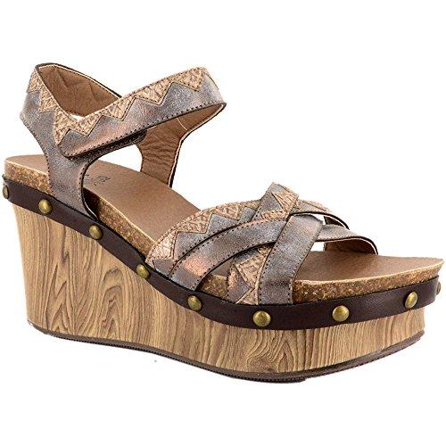 Aztec Égyptien Dames Corkys Bronze Wedge Gris Femmes Chaussures RqEtwx6PIR