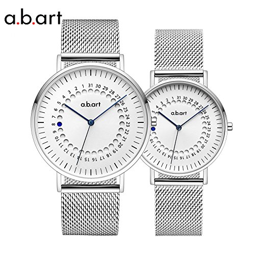 a.b.art His and Hers Wrist Watches Gift FD-BG101-6S Men Women Watch Sapphire Crystal Analog Quartz Couple Watches (Silver) (Watch Sapphire Crystal)