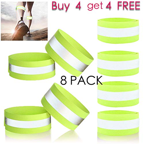 Reflective Bands Safety Leg - ryandrew Reflective Bands - for Wrist, Arm, Ankle, Leg, Thigh. High Visibility Reflective Running Gear for Men and Women for Night Running Cycling Walking Bicycle. Safety Reflector Tape Straps