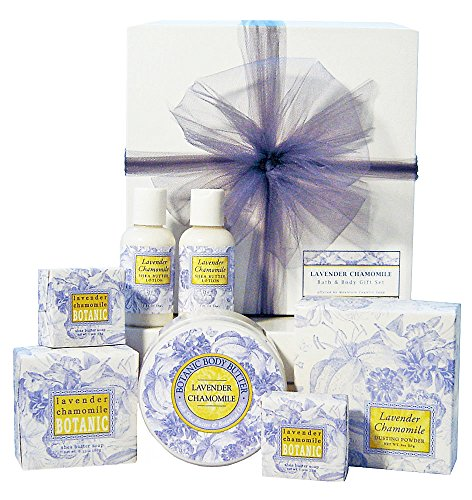 Greenwich Bay Lavender Chamomile Bath & Body Gift Set, Gift for Her, Birthday, Christmas, Mother's Day, Individually Wrapped and Gift Boxed