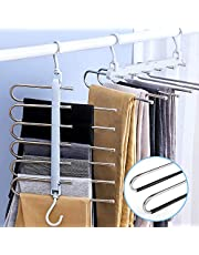 lanliebao Pants Hangers 2 Pack Adjustable 6in 1 Multi-Layer Hanger Made of Plastic & AluPants Hangers,Home Storage for Organizer,Folding Space Saver Storage for Trousers Scarf Tie Belt