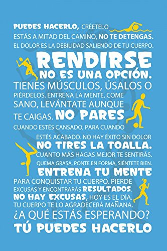 Amazon.com: 1art1 Motivational Stretched Canvas Print - Workout, Tú Puedes Hacerlo, Blue (20 x 16 inches): Posters & Prints