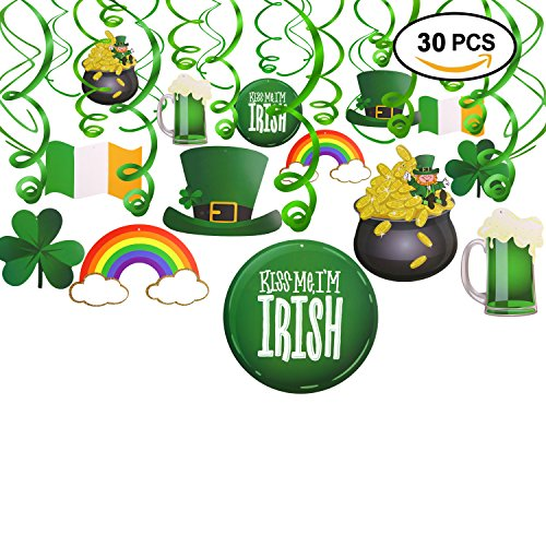 St.patrick Day Party Decoration Swirls(30pcs), Konsait St Patricks Day Hanging Decorations Lucky Irish Green Shamrock St.Patrick's Day Foil Swirl for St Patrick Party Home Party Favors Supplies Decor