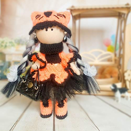 Collectible knitted orange and black cat doll with two white and black braids for present for mother handwork ()