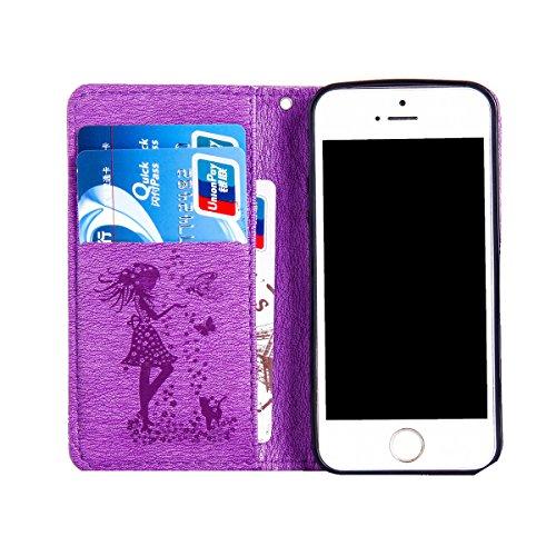 Funda iPhone 5s, Funda de brillo iPhone 5s, Lifetrut Sólido Shiny Sparkle Libro de Estilo de Cuero con Ranura para Tarjetas de Cierre Magnético Soporte Funda de Teléfono de la Función con Correa de Mu E205-Púrpura