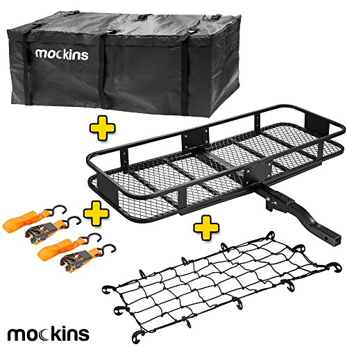 Mockins Hitch Mount Cargo Carrier With Cargo Bag And Net |The Steel Cargo Basket Is 60 Long X 20 Wide X 6 Tall With A Hauling Weight Of 500 Lbs (Hitch Basket Cargo)