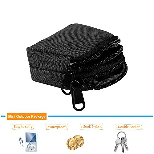 Mini Outdoor Survival-Dienstprogramm Doppelschichten Coin Geldbörsen Beutel Schwarz