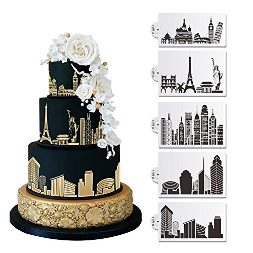 5 PC Historic Monuments and Major City Skylines (Europe, Eiffel Tower, Statue of Liberty, Rome, Empire State Building, New York City) Wedding Cake Stencil Set - Custom Stencils from Bakell ()