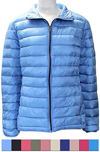 Harvey and Jones Harvey & Jones Ultra Lightweight Down Jacket Womens Puffer Coat Casual Packable Zip Up Warm Water Resistant Ladies Parka (Baby Blue, XSmall)