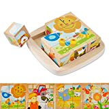 Wondertoys Farm Wooden Cube Blocks Jigsaw Puzzles with Storage Tray Preschool Age Educational Toy for Toddler 9 Pieces