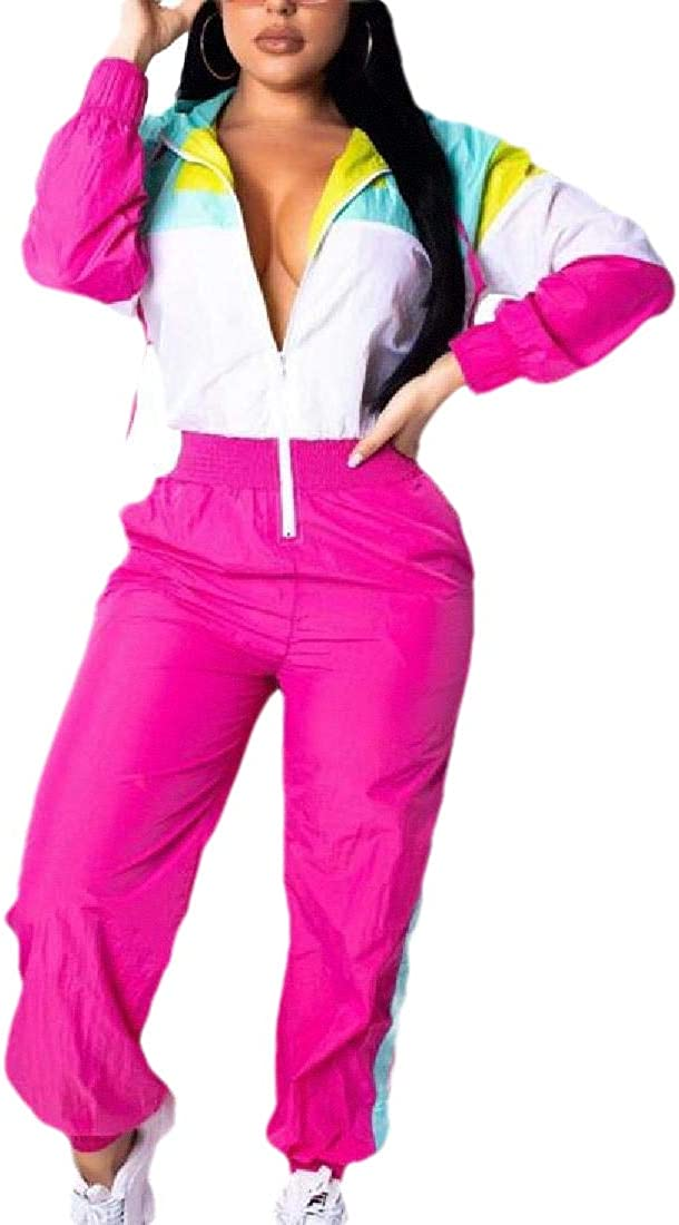 WSPLYSPJY Women Zipper Front Color Block Bodycon Jumpsuits Romper Clubwear