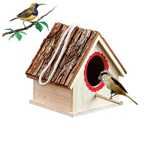 Kathson Wooden Birdhouses nest Naturals Cedar Outdoors Hanging Garden Patio Decorative for Dove/Finch/Wren/Robin/cedarand/Sparrow Small Animal