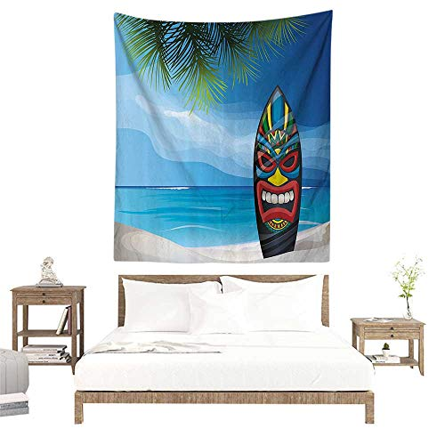 alisoso Tapestry for Home Decor,Tiki Bar Decor,Tiki Warrior Mask Design Surfboard on Ocean Beach Abstract Landscape Surf,Multicolor W39 x L39 inch Home Decor Wall Hanging