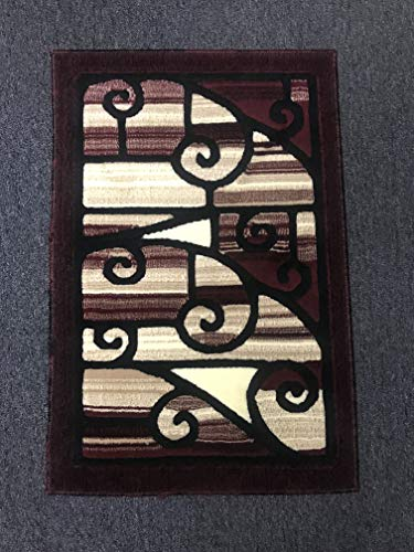 (Americana Modern Door Mat Contemporary Area Rug Burgundy Black Beige Design 110 (2 Feet X 3 Feet))