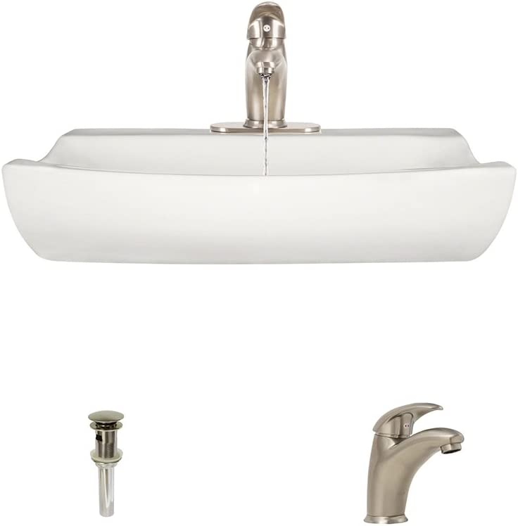 V2302-Bisque Porcelain Vessel Sink Brushed Nickel Ensemble with 722 Vessel Faucet Bundle – 3 Items Sink, Faucet, and Pop Up Drain