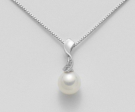 pendente perla oro bianco