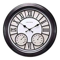 AcuRite 75469L 18 inch Large Easy to Read Indoor/Outdoor Black Wall Clock