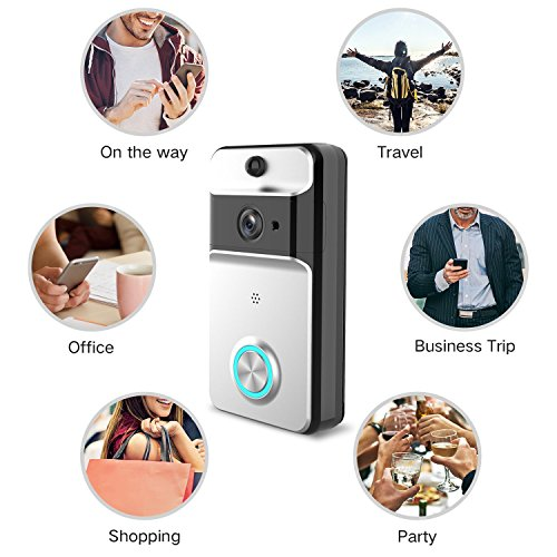 GJT 2018 Splash-Proof Smart Video Doorbell Home Security Camera with Indoor Chime, 8G SD Card, Free Cloud Service, 1 Battery, 2-Way Talk, Night Vision, PIR Motion Detection for iOS Android by GJT (Image #2)