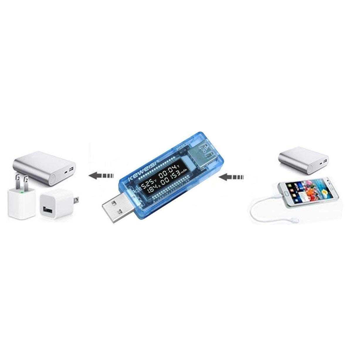 Heaviesk LCD USB Detector USB Volt Corrente Voltage Doctor Caricatore capacit/à Plug And Play Power Bank Tester Meter Voltmetro Amperometro