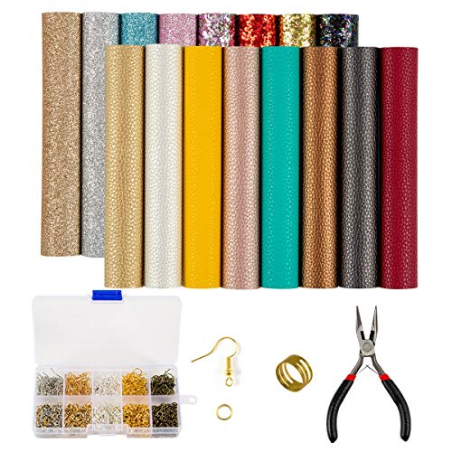 19 Pieces Faux Leather Earrings Making Kit, Synthetic Leather Fabric Sheets, Litch and Glitter Faux Leather with Tools for Earrings Bows Jewelry Crafts Making