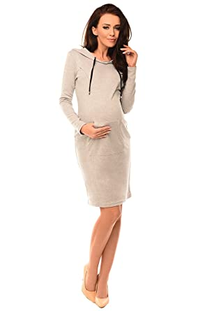 f2317803bad Purpless Maternity 2in1 Pregnancy and Nursing Woman Dress Hooded Kangaroo  6211 at Amazon Women's Clothing store: