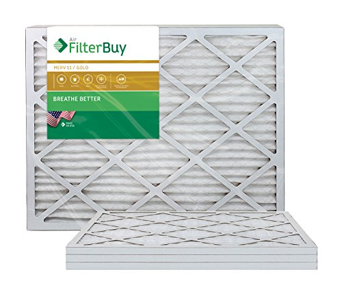 AFB Gold MERV 11 12x30x1 Pleated AC Furnace Air Filter. Pack of 4 Filters. 100% produced in the USA.