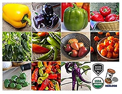 David's Garden Seeds Collection Set Pepper Bell/Hot NEP3452 (Multi) 11 Varieties 500 Seeds (Non-GMO, Open Pollinated, Organic)