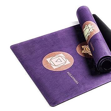Aquí y allí Premium microfibra 4 mm Suede esterilla de yoga ...