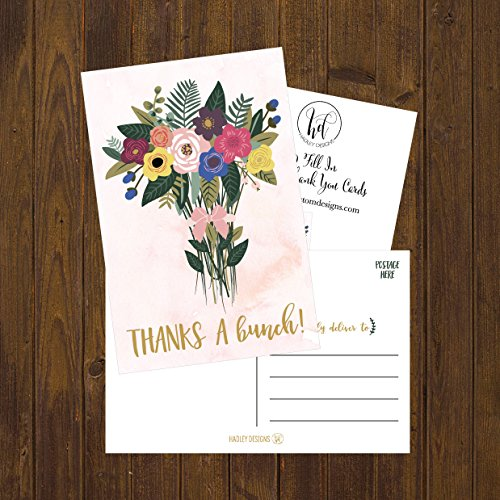 50 4x6 Watercolor Floral Thank You Postcards Bulk, Cute Boho Flower Thank You Note Card Stationery For Wedding, Bridesmaid, Bridal or Baby Shower, Teachers, Appreciation, Religious Event, Business Etc Photo #5