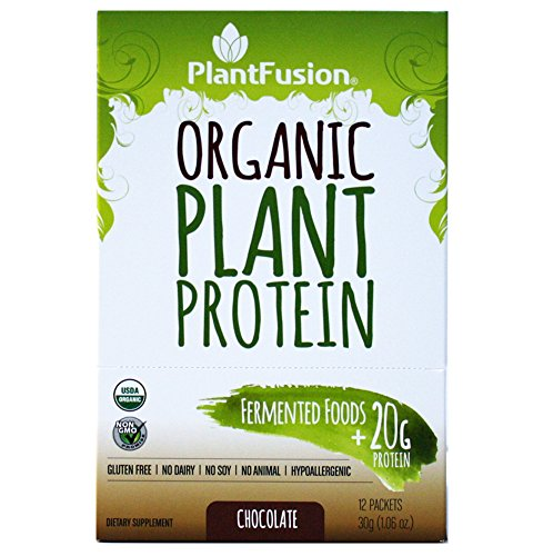 PlantFusion Organic Plant-Based Protein & Fermented Foods Powder, Chocolate, 1.06 oz Single Serving Packet, 12 Count, USDA Organic, Non-GMO, Gluten Free, Hypoallergenic