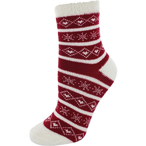 (Yaktrax Youth Cozy Cabin Crew Socks, Red/White, OSFM)