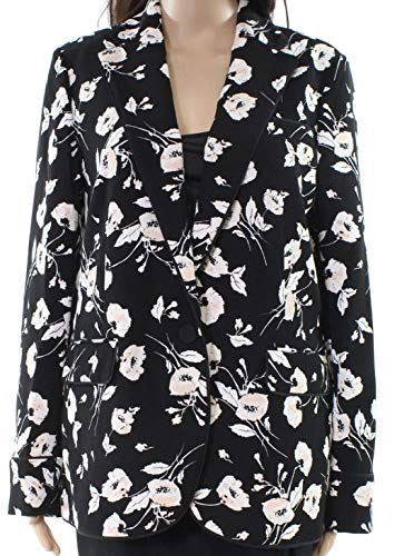 (LAUREN RALPH LAUREN Womens Oniondra Floral Print One-Button Blazer Black 8)