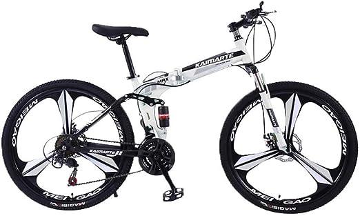 WSJYP Bicicleta de Montaña para Adultos, Bicicleta de Montaña Shimanos de Acero al Carbono de 26 Pulgadas, Bicicleta de 21 Velocidades con Freno de Disco de Suspensión Completa MTB,White: Amazon.es: Hogar