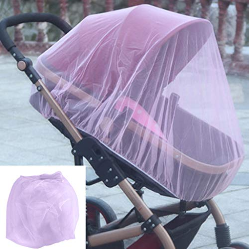 Baby Mosquito Mesh Insect Bug Netting Buggy Cover for Jogging, Pushchairs,Strollers, Prams, Bassinet and Car Seats,Fly Screen Netting Provides Complete Children Protection (Pink, Free)