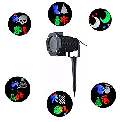 Christmas LED Projector Lights Landscape Spotlight Waterproof Indoor Outdoor Wall Decoration Projection Light,Party Light for Patio,Lawn,Garden,Decorations 10 Pattern160;