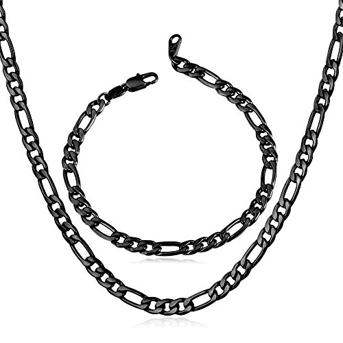 (U7 Men Chain Jewelry 5mm Wide Black Plated Stainless Steel Figaro Chain Set (Bracelet 8.3 Inch, Necklace 22