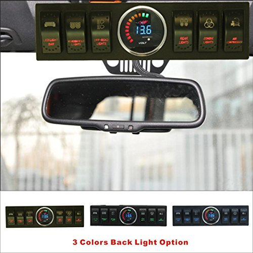 Apollointech Jeep Wrangler JK & JKU 2009-2017 Overhead 6-Switch Pod / Panel with Control and Source System Red Back Light ( Comes with 10 Laser Switch Covers )