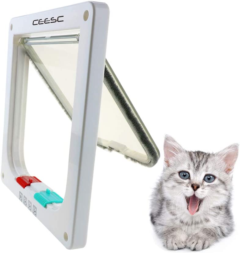 CEESC Puerta magnética para Mascotas con Puerta abatible y Cerradura de 4 vías para Gatos, Gatitos y Perro Perrito (S, Blanco)
