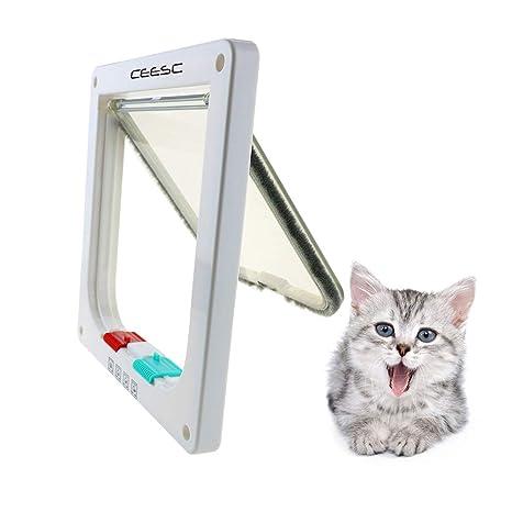 CEESC Puerta magnética para mascotas con puerta abatible y cerradura de 4 vías para gatos,