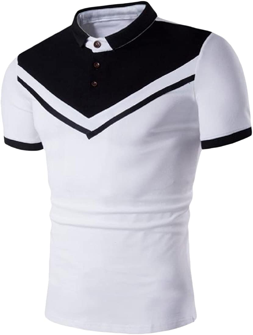 Qiangjinjiu Mens Lapel Short Sleeve Splice Stripe Printed Contrast Color Polo Shirt
